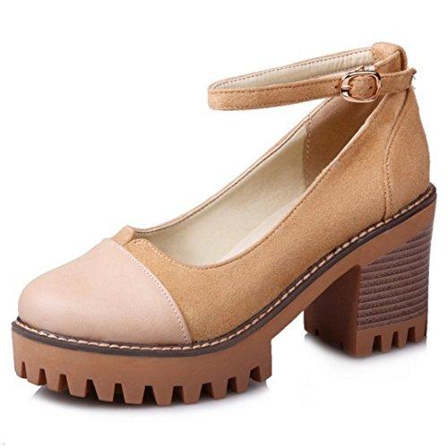 Schuhe Damen Geschlossene Knochelriemchen Pumps Mode Aprikose Blockabsatz Coolcept