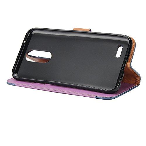 Dual Color Matching Premium PU Leder Flip Stand Case Cover mit Card Cash Slots und Lanyard für LG K4 2017 ( Color : Purple ) Purple