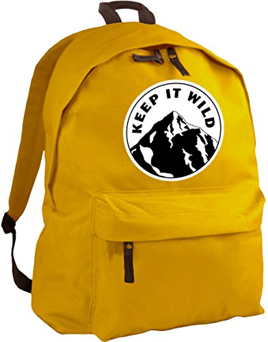 Mochila con mensaje 'Keep It Wild', de HippoWarehouse, dimensiones: 31 x 42 x 21cm, capacidad: 18 litros Amarillo Mostaza Talla única