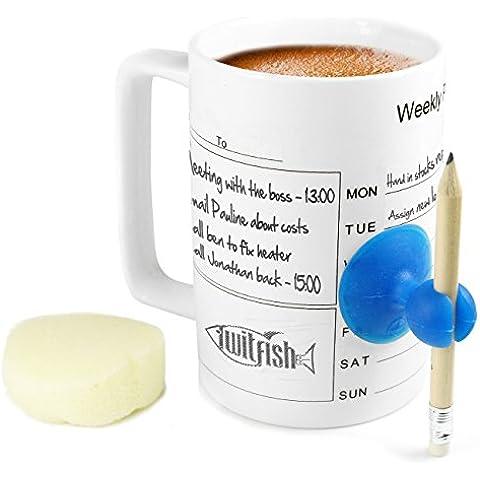 Twitfish® - Tazza in Ceramica Organizzativa con Calendario Settimanale - Rendi la Tua Tazza Unica e Speciale -