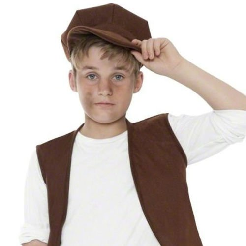 Viktorianischer Bengel Bauer Arme Junge Kappe Kostüm Verkleidung Zubehör (Für Kostüme Armee Jungen)