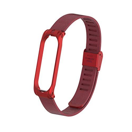 Armband Mi Band 4 Strap, Metallarmband Ersatzarmbänder Ersatz Strap Erweiterbar Armband für Xiaomi Mi Band 4 (rot) - Bänder Herren-erweiterbar-uhr