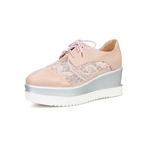 VogueZone009 Damen Mittler Absatz Rein SchnürenQuadratisch Zehe Pumps Schuhe Pink