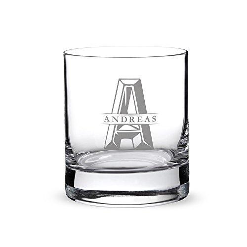 Verre à whisky avec gravure - Initiales - Personnalisé avec nom et initiales - Tumbler - Idée cadeau d'anniversaire - Cadeau pour la fête de pères - Cadeau pour hommes original