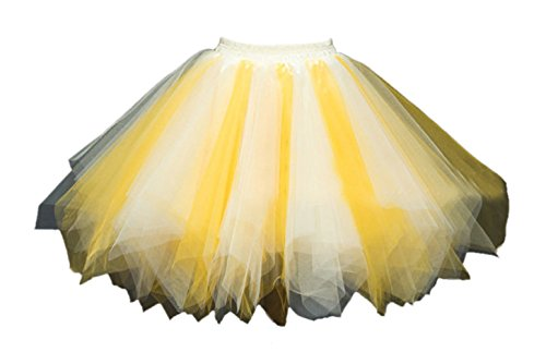 Honeystore Damen's Tutu Unterkleid Rock Abschlussball Abend Gelegenheit Zubehör Gelb und Champagner