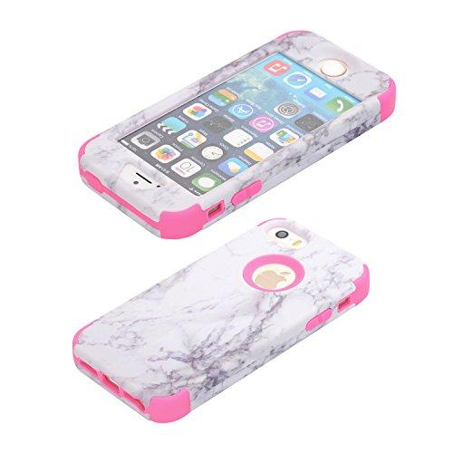 Cover per iPhone SE Marmo case, iPhone 5 5S Cover, Xifanzi iPhone SE Disegno del modello di marmo Custodia ibrida a 3 strati in silicone a prova di collisione per Custodia Cover ibrida a 3 strati in s Rosso rosa