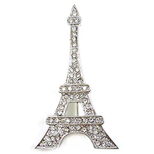 Spilla con cristalli swarovski e argento torre eiffel spilla ciondolo