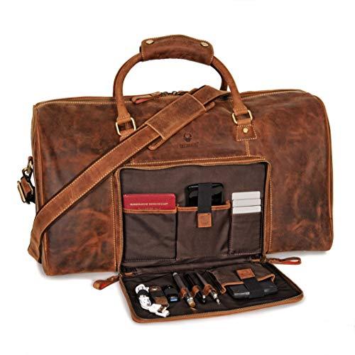 Donbolso Weekender Neapel Braun - XL Reisetasche aus Leder für Damen und Herren - Echtleder Handgepäck mit Schultergurt