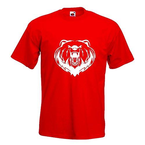 Kiwistar Grizzly Bear - Bär - T-Shirt in 15 Verschiedenen Farben - Herren Funshirt Bedruckt Design Sprüche Spruch Motive Oberteil Baumwolle Print Größe S M L XL XXL Rot