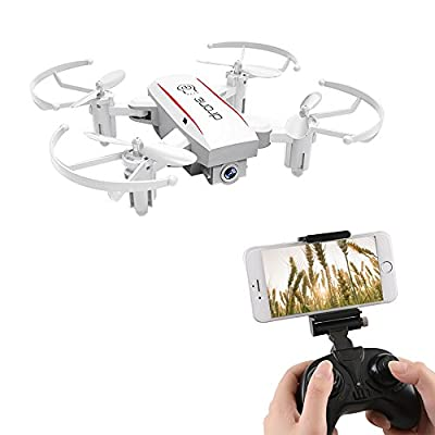 ESGOT 1601W RC Quadcopter with HD Camera 2.4GHz Foldable Mini Remote Control Drone for Beginner White