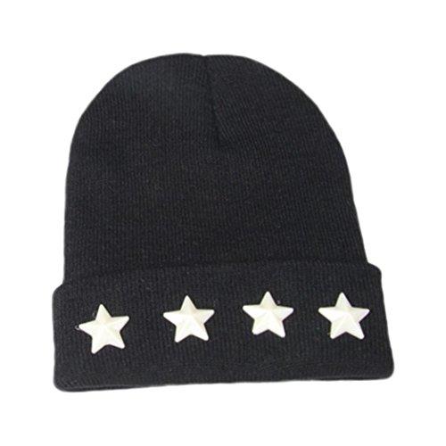 URSING Kinder Star Cap Baby Jungen Mädchen Warm Winter Hüte Strick Wolle Hemming Mode Nette schicke feste Farbe Hüte & Mützen 2-7 Jahre alt (Schwarz) (Minion Kostüm 2 Jahre Alt)