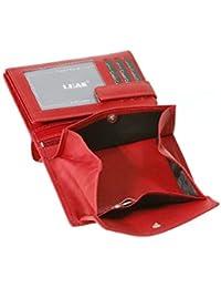 Wiener-Kombibörse mit Geheimfach LEAS in Echt-Leder, rot - LEAS Special Edition