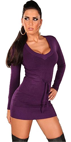 Koucla robe pull à manches longues pour femme & & gürtelband avec col en v taille unique (convient du 34 au 40) Violet - Lilas