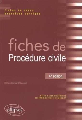 Fiches de Procédure Civile par Ronan Bernard-Menoret