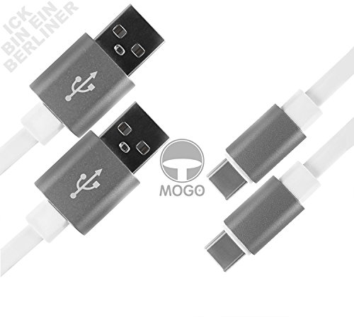 MOGO+ Designed in BERLIN / weiß / flach / 1,5 m stylisches langes USB-Kabel auf USB C-Kabel / USB Typ-C / USB-Ladekabel Datenkabel langlebig flexibel & elegant durch innovatives Flachkabel-Design & hochwertigem Aluminiumgehäuse mit Schutz-Verstärkung / Space-grau