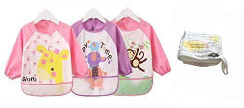 Babylaza 3 pezzi impermeabile bambino bavaglino grembiule con maniche lunghe,consigliato per bambini da 6 mesi-3 anni,free baby asciugamani