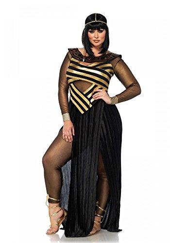 shoperama Nile Queen Damen-Kostüm von Leg Avenue Ägypterin Gold/Schwarz Kleid Pharaonin, ()