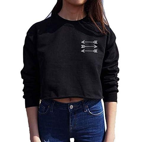 Sannysis Frauen Langarm-Leder Crop Tops Shirt Sweater (M, Schwarz)