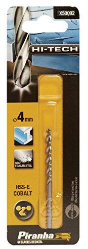 Piranha HSS-E Kobalt Hi-Tech Metallbohrer (für alle Metallarten, 4 mm Bohrdurchmesser, 75 mm Gesamtlänge, 1 Stück) X50092