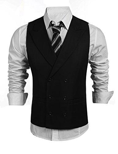 Herren Einreiher / Zweireiher mit Knöpfen Weste Anzugweste Businessweste Anzug V-Ausschnit Geschäftsweste Business Hochzeit Vintage Kurzweste Slim fit (Anzug Taste Klassischen)