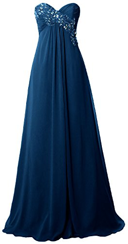 MACloth Women Strapless Empire Long Prom Dress Chiffon Formal Party Evening Gown Teal