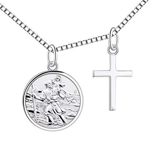 Sterlingsilber St Christophorus in Liebesherz Graviertes Medaillon an Kette