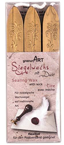 gravurART - flexibles Siegelwachs mit Docht in gold, 3 Stangen