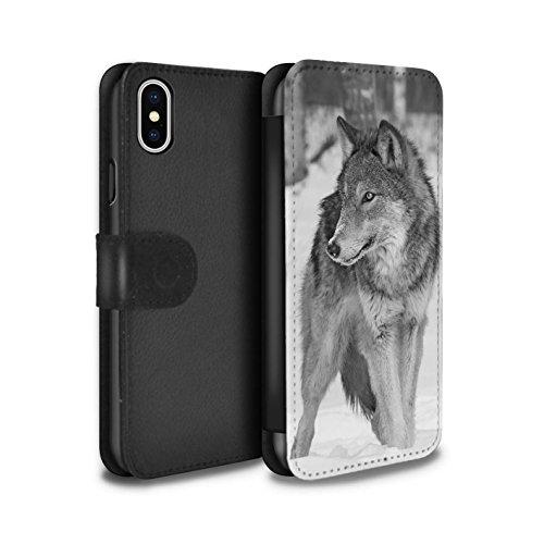 STUFF4 PU-Leder Hülle/Case/Tasche/Cover für Apple iPhone SE / Elefant Muster / Zoo-Tiere Kollektion Wolf