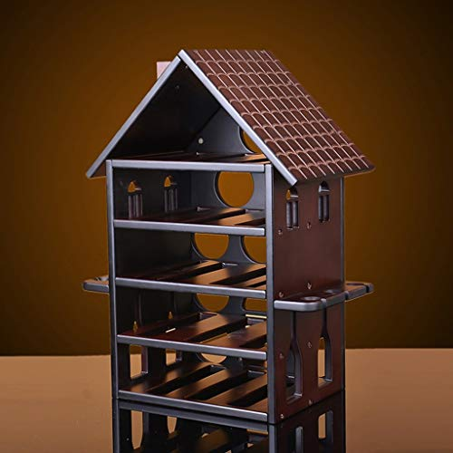 GONGFF Wine Rack Massivholz Mahagoni Kreative ischen Weinregal Rotweinglas Regal Weinregal Schrank Dekoration Hängende Becher Halter - 2 Regal-schrank Mahagoni