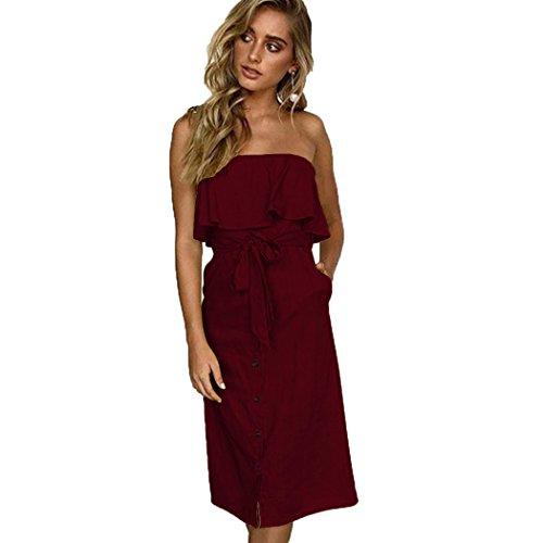 ALAIX Damen Elegantes Kleid Ärmeligloses Figurbetontes Carmen Baumwolle Kleider für Damen Rot XL