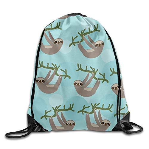 Artpower Three Toed Sloth On Green Branch Print Shoulder Drawstring Bags Basic Drawstring Tote Cinch Sack Promotional Backpack Bag Cinchbag -