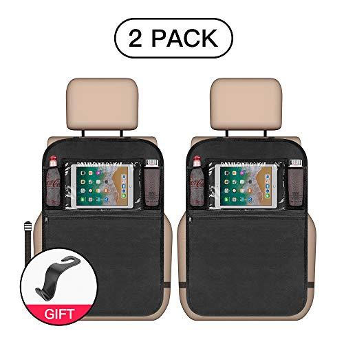 Protector trasero del Organizadores 2 piezas, Multibolsillos esteras impermeables asiento trasero asiento Protectores de coche, con iPad/tableta, pantalla táctil para auto-viaje