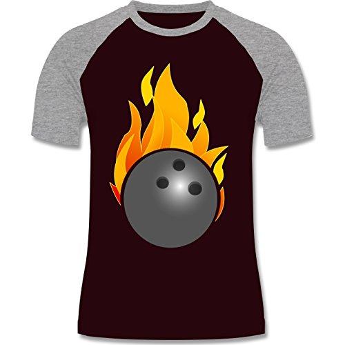 Bowling & Kegeln - Bowling Ball Flammen bunt - zweifarbiges Baseballshirt für Männer Burgundrot/Grau meliert