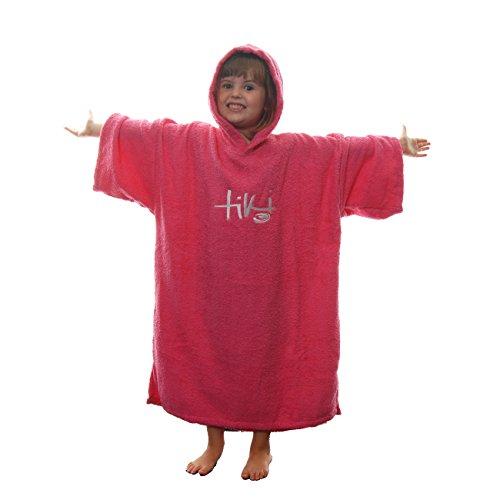Tiki, Handtuch-Poncho mit Kapuze für Kinder, aus Frottee, Bademantel für den Strand, pink - Kinder Poncho-handtuch