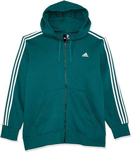 adidas Herren Essentials 3 Stripes Full Zip Kapuzen-Jacke Noble Green/White 2XL