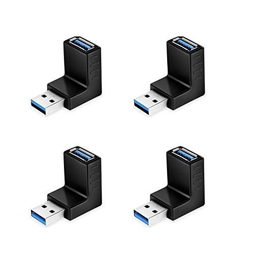 ELUTENG USB Winkeladapter 4 Stücke 90 Grad nach oben / 90 Grad nach unten USB 3.0 Adapter 5 Gbps Männlich auf Weiblich L Typ USB kupplung Winkel für PC / Laptop in Schwarz MEHRWEG. - Grad Usb