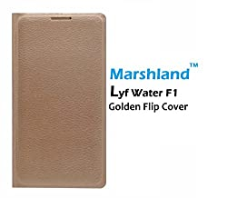Lyf Water F1 Flip cover Unique Design Ultra Smooth Water Proof, Perfect Fit Hard & Shiny Flip Case cover Synthetic PU leather By Marshland - (Golden Colour)