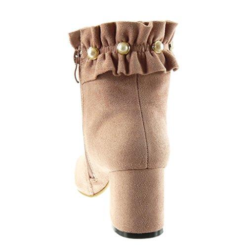 Angkorly - Scarpe Da Donna Stivaletti - Stivali Da Equitazione - Kavalier - Tacco A Spillo Tacco Alto 6,5 Cm Rosa