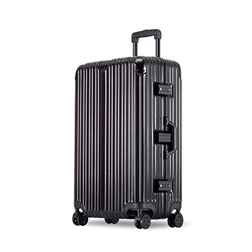 YCYHMYF Valigetta per valigie in Alluminio con Trolley Universale Valigetta per valigie con Valigia Femmina (Nero 29 Pollici)