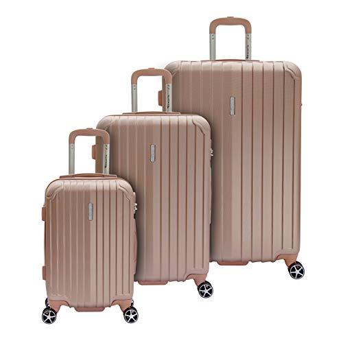 Tamaris Style Hartschalen Kofferset, 4 Rollen 3er Reisekoffer Set für Damen/Herren mit TSA-Zahlenschloss - (S, M & L), Rose