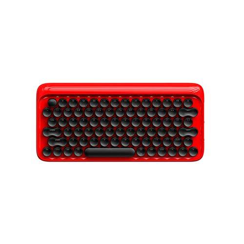 Von Hinten Beleuchtete Tastatur Der Retro- Mechanischen Tastaturpunkt Bluetooth-Plan-Kompakten Alten Schreibmaschine Runde Schlüsselkappen-Grünachse 3 Farben Der Drahtlosen Tastatur,Red