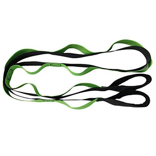 WINOMO Yoga Dehnung Strap mit Loops für Yoga Tanz Pilates Physiotherapie Rehab Größeres Fitness Workout (schwarz und grün)