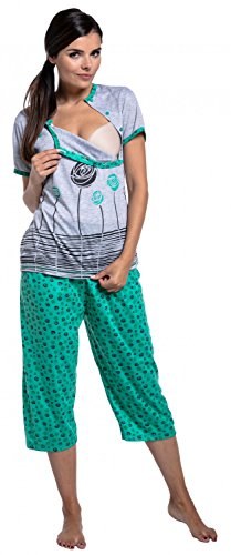 Zeta Ville - Umstands Still-Pyjama kurzen Ärmeln gekürzte Hosen - Damen - 076c Grün