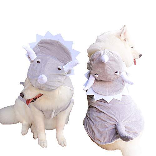 MUYAOPET Muyaotet Triceratops Hundekostüm Dinosaurier, für den Winter, Fleece, Kleidung bei kaltem Wetter, Labrador Corgi, 20(Bust 24.8inch), grau