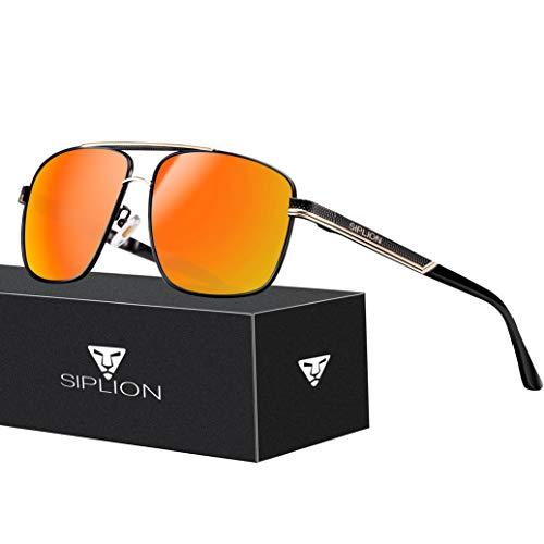 Matrix-rote Lichter (SPLION Herren Fahrerbrille Polarisierte Sonnenbrille Rechteckige Metall Rahmen Rot 1823)