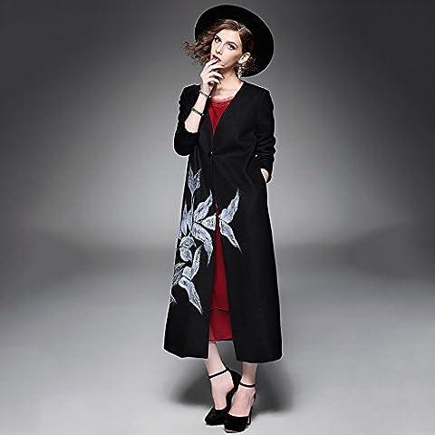 ZH AH a maniche lunghe con scollo a V delle donne era sezione sottile lungo retrò signore dipinte a mano cappotto di lana , black ,