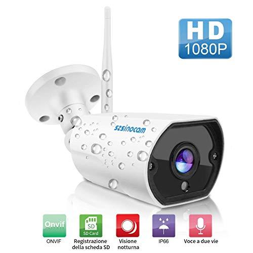 Telecamera Sorveglianza WIFI Esterno, SZSINOCAM Videocamere Di Sorveglianza IP Camera 1080P HD IP66 Con Visione Notturna,Rilevazione Del Movimento,Audio Bidirezionale,iOS/Android/Windows