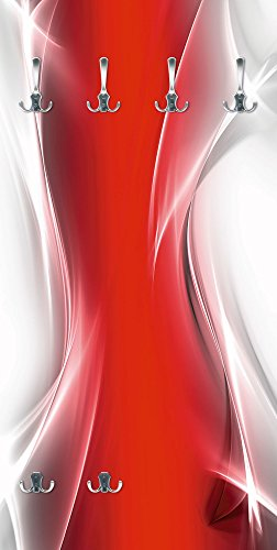 Artland Qualitätsmöbel I Garderobe mit Motiv Holz Bedruckt und Metall Haken Abstrakte Motive Gegenstandslos Digitale Kunst Rot G5RO Kreatives Element Rot für Ihr Art-Design