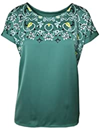 d24a26825d4b47 Marks and Spencer Marks & Spencer Satin Front T-Shirt TOP Green Floral  Pattern 10