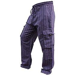 SHOPOHOLIC FASHION - Pantalones hippies de pierna ancha unisex, bolsillos laterales, diseño rayas multicolor multicolor morado XXXL